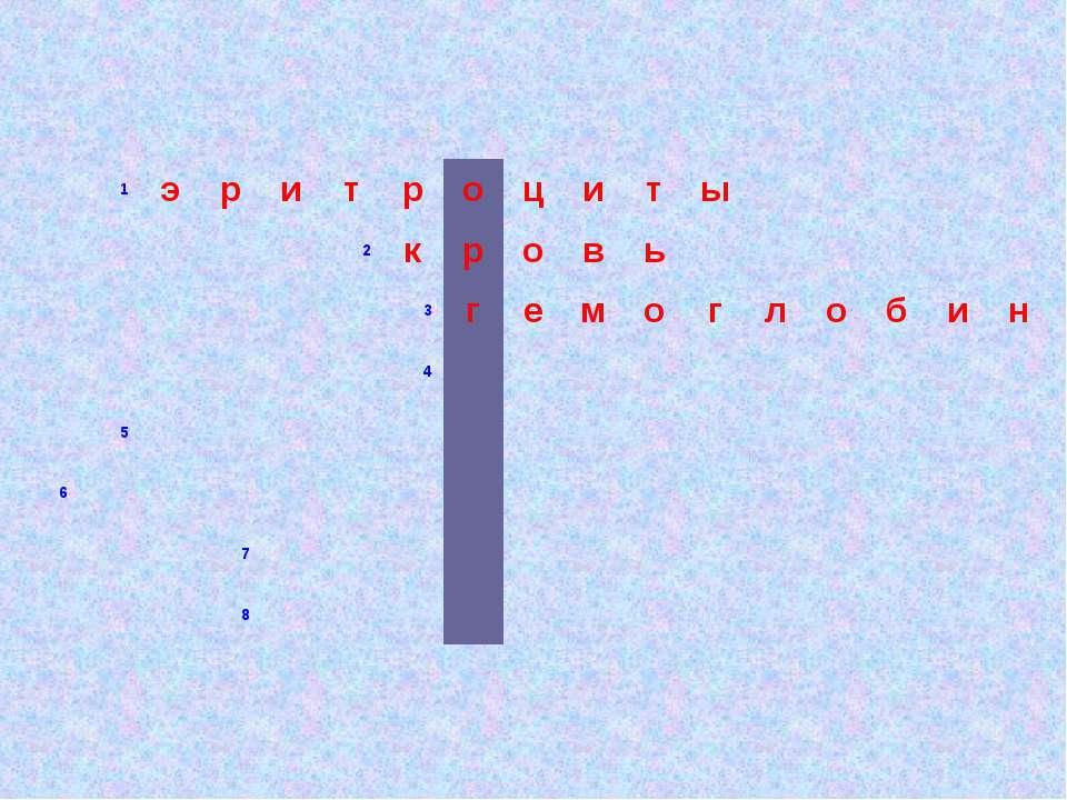 1 э р и т р о ц и т ы 2 к р о в ь 3 г е м о г л о б и н 4        5  ...