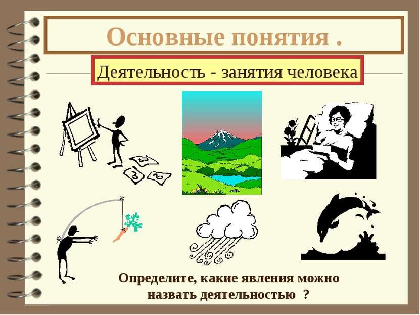 Основные понятия . Деятельность - занятия человека Определите, какие явления ...