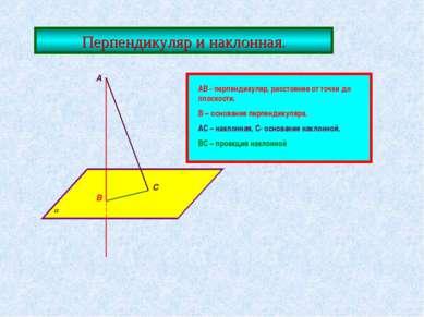 Перпендикуляр и наклонная. А В С АВ - перпендикуляр, расстояние от точки до п...