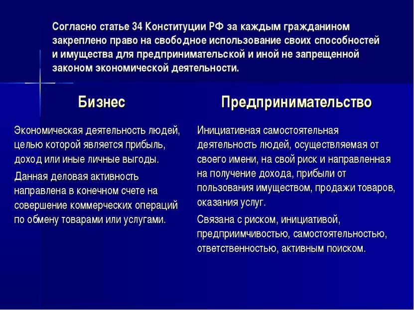 Согласно статье 34 Конституции РФ за каждым гражданином закреплено право на с...