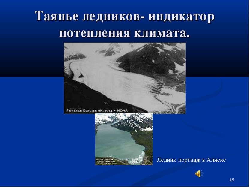 * Таянье ледников- индикатор потепления климата. Ледник портадж в Аляске