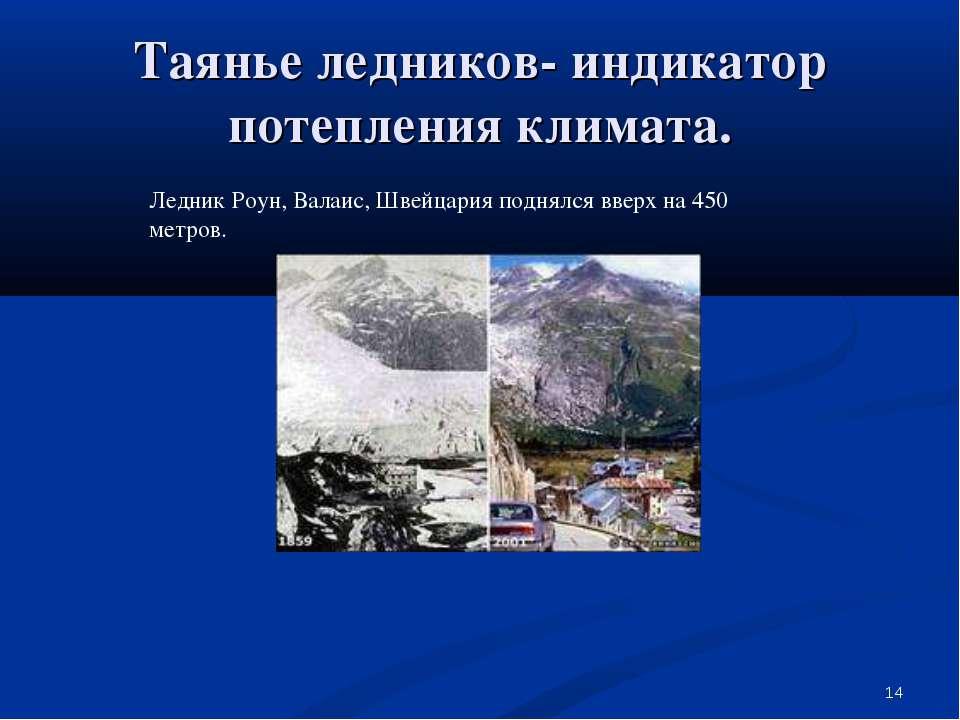 * Таянье ледников- индикатор потепления климата. Ледник Роун, Валаис, Швейцар...