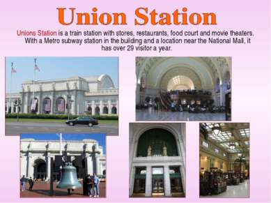 Unions Station is a train station with stores, restaurants, food court and mo...