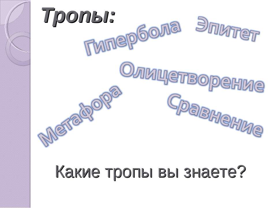 Тропы: Какие тропы вы знаете?