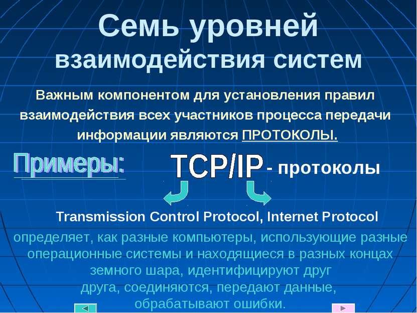 Семь уровней взаимодействия систем Transmission Control Protocol, Internet Pr...