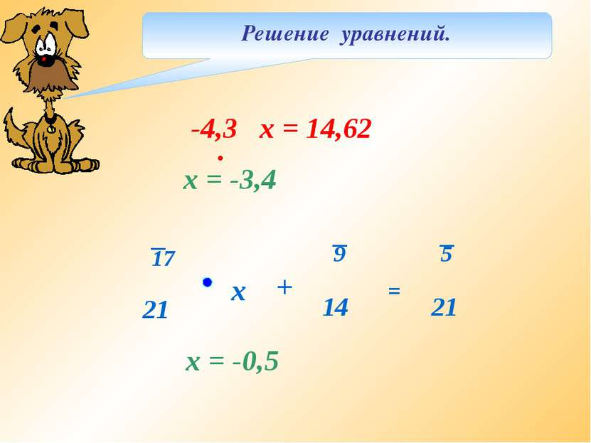 Решение уравнений. х = -3,4 х = -0,5 -4,3 х = 14,62 . = + х