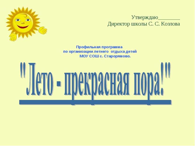Утверждаю________ Директор школы С. С. Козлова Профильная программа по органи...