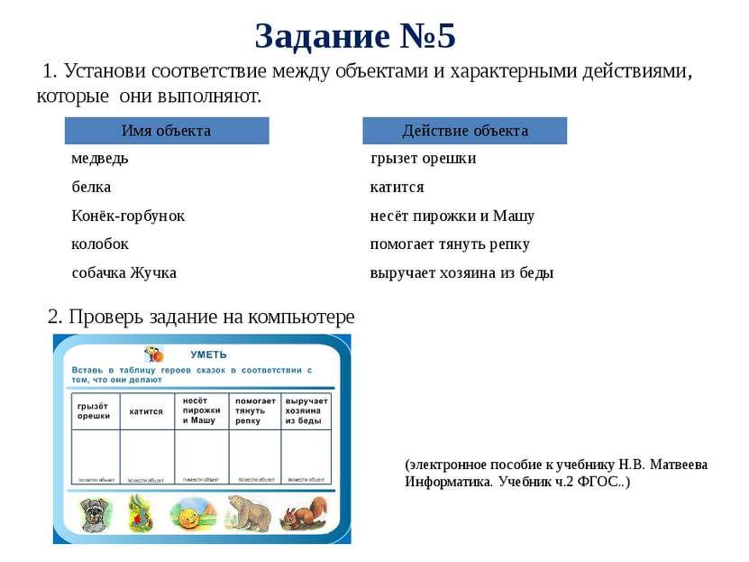 Задание №5 2. Проверь задание на компьютере (электронное пособие к учебнику Н...