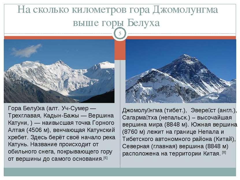 На сколько километров гора Джомолунгма выше горы Белуха * Гора Белу ха (алт. ...
