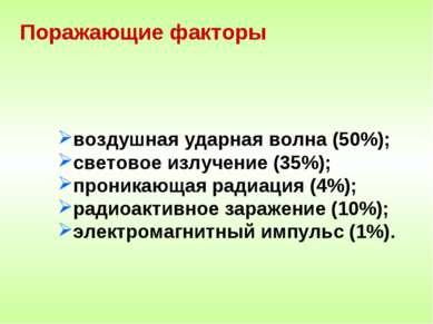 Поражающие факторы воздушная ударная волна (50%); световое излучение (35%); п...