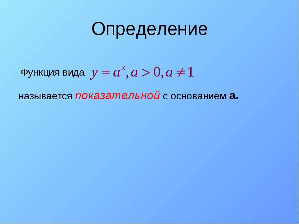 Определение Функция вида называется показательной с основанием а.