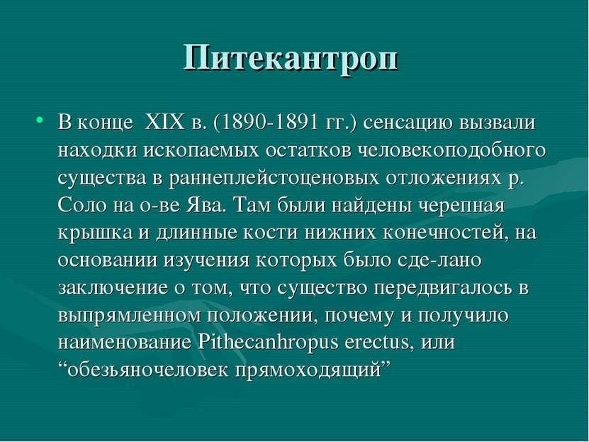 Питекантроп В конце XIX в. (1890-1891 гг.) сенсацию вызвали находки ископаемы...