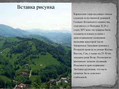 Карпатские горы на северо-западе служили естественной границей Галицко-Волынс...