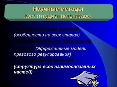 Научные методы конституционного права Исторический метод (особенности на всех...
