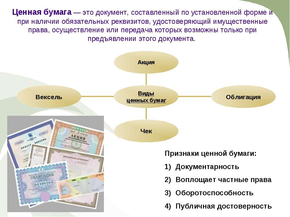 Ценная бумага — это документ, составленный по установленной форме и при налич...