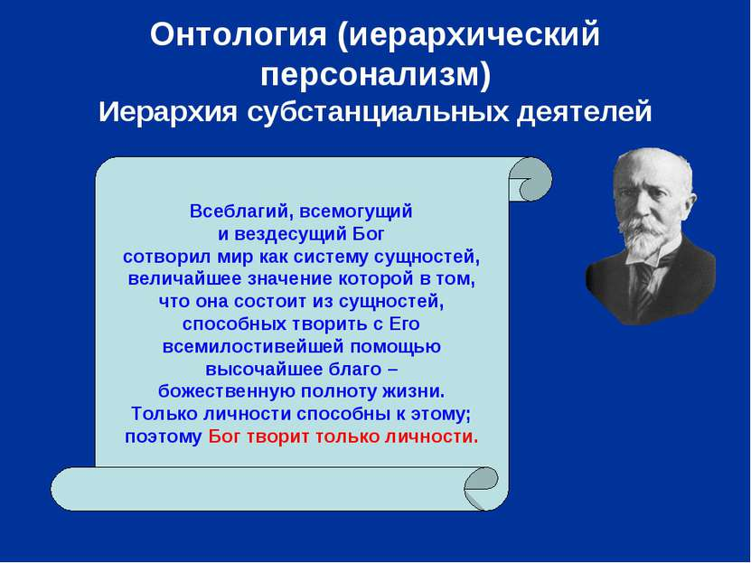 Онтология (иерархический персонализм) Иерархия субстанциальных деятелей Всебл...