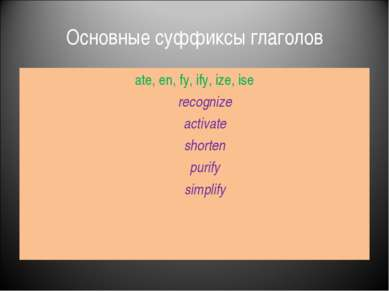 Основные суффиксы глаголов ate, en, fy, ify, ize, ise recognize activate shor...