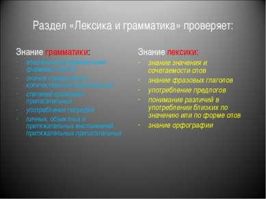 Раздел «Лексика и грамматика» проверяет: Знание грамматики: владение видоврем...