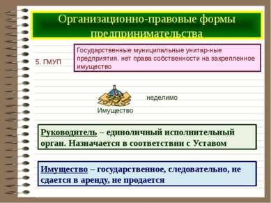 Организационно-правовые формы предпринимательства Имущество – государственное...