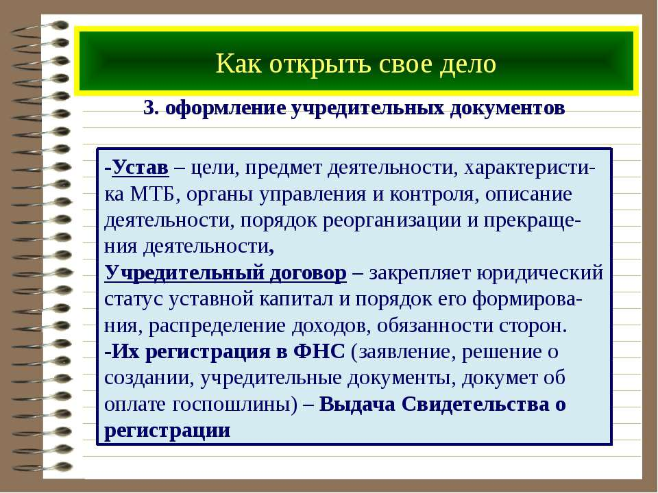 Как открыть свое дело 3. оформление учредительных документов -Устав – цели, п...