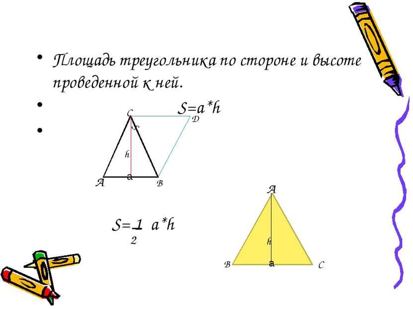 Площадь треугольника по стороне и высоте проведенной к ней. S=a*h А В С Д S h...