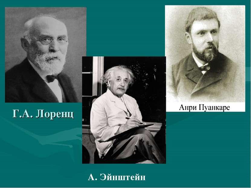 Г.А. Лоренц А. Эйнштейн
