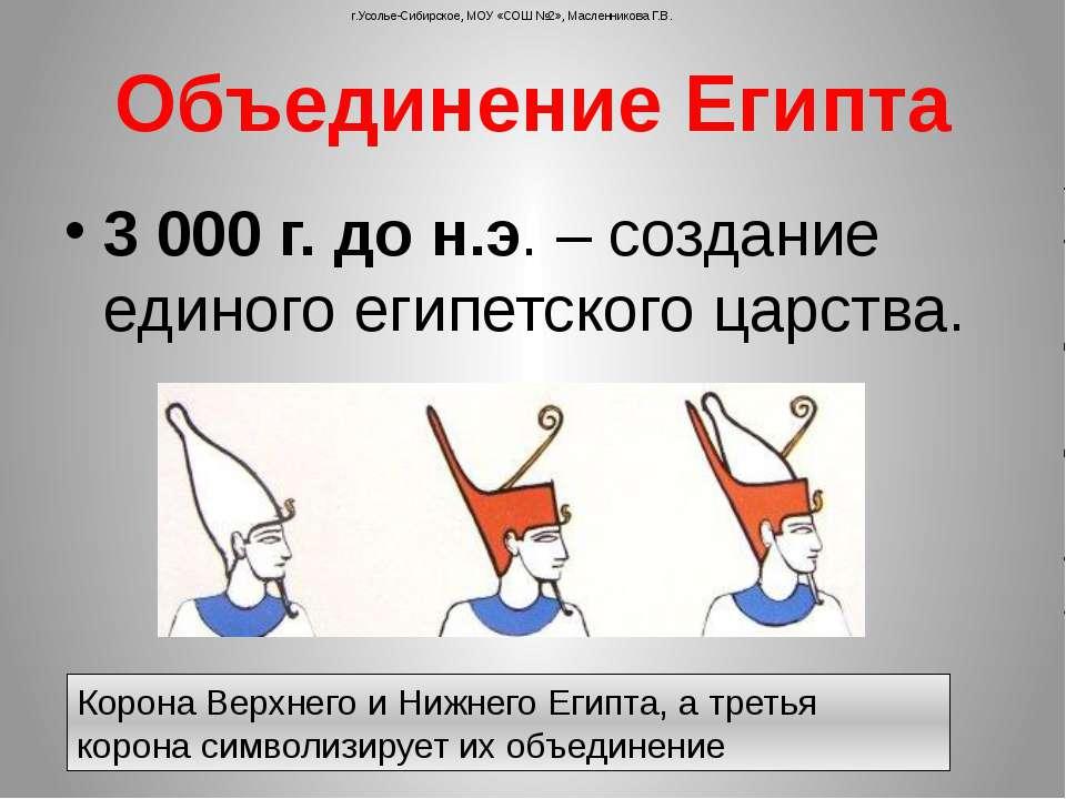 Корона Верхнего и Нижнего Египта, а третья корона символизирует их объединени...