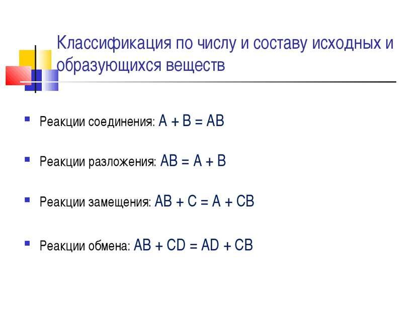 Классификация по числу и составу исходных и образующихся веществ Реакции соед...
