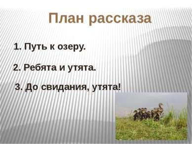 План рассказа 1. Путь к озеру. 2. Ребята и утята. 3. До свидания, утята!