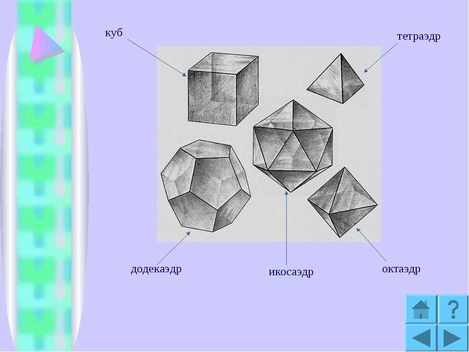 куб тетраэдр октаэдр икосаэдр додекаэдр