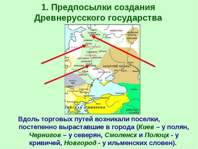1. Предпосылки создания Древнерусского государства Вдоль торговых путей возни...