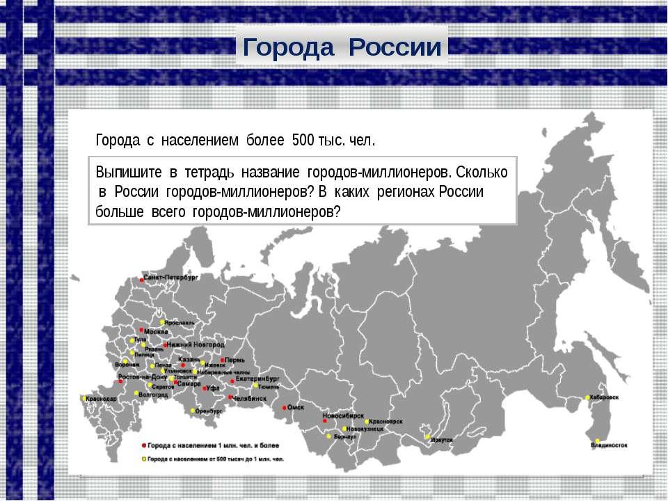 Города с населением более 500 тыс. чел. Города России Проанализируйте карту. ...