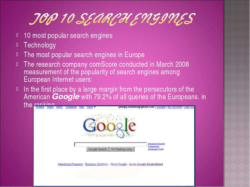 10 most popular search engines Technology The most popular search engines in ...