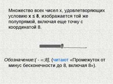 Множество всех чисел х, удовлетворяющих условию х ≤ 8, изображается той же по...