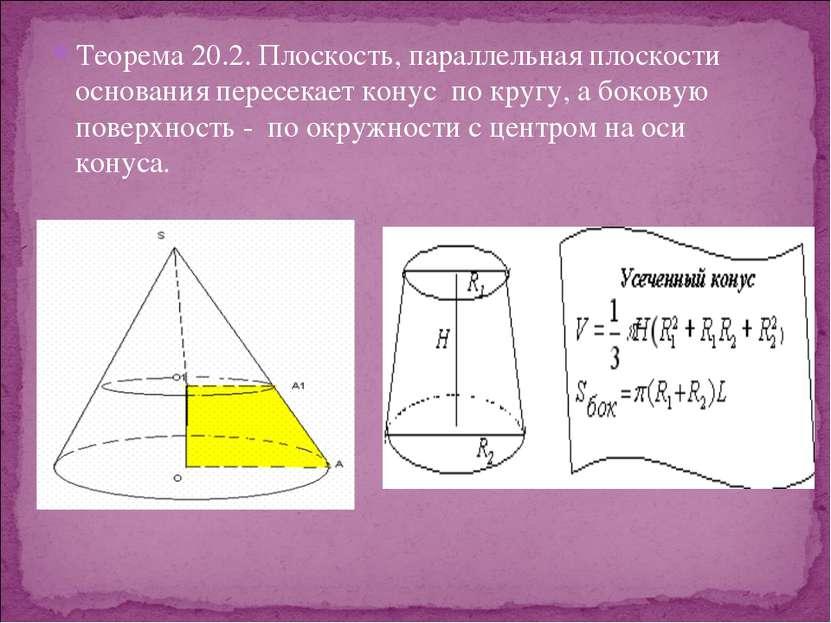 Теорема 20.2. Плоскость, параллельная плоскости основания пересекает конус по...