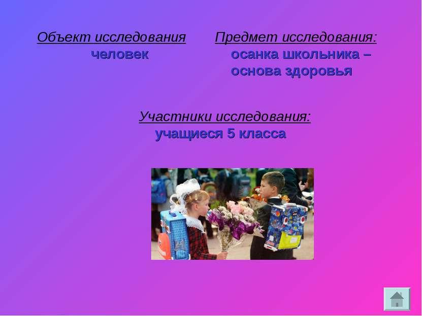 Объект исследования человек Предмет исследования: осанка школьника – основа з...