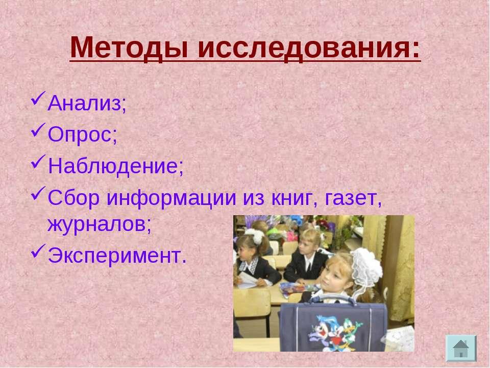 Методы исследования: Анализ; Опрос; Наблюдение; Сбор информации из книг, газе...