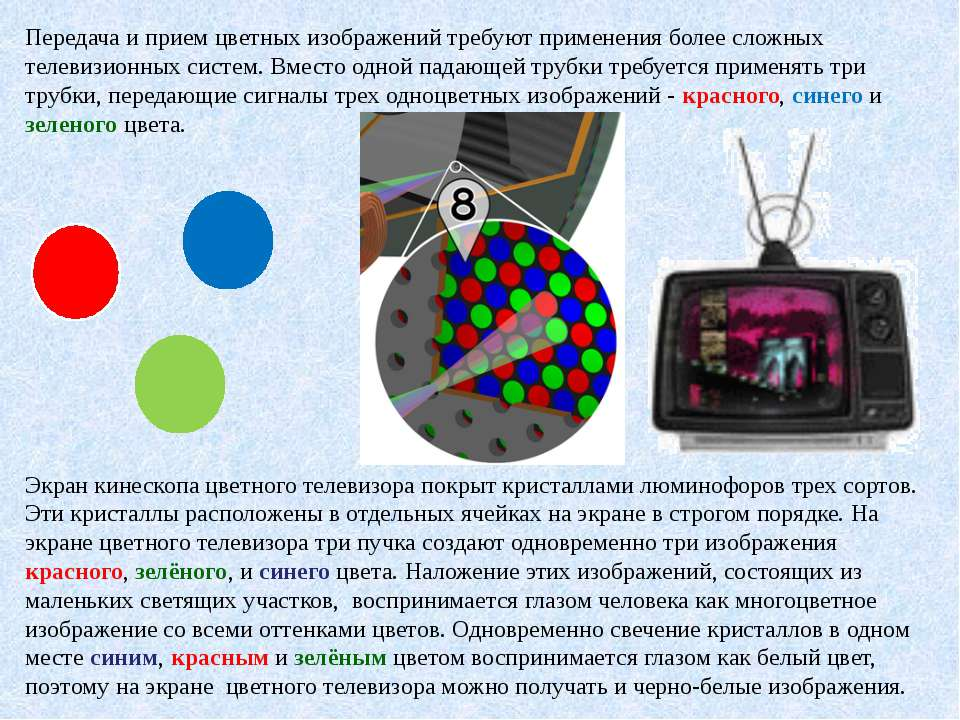 Передача и прием цветных изображений требуют применения более сложных телевиз...
