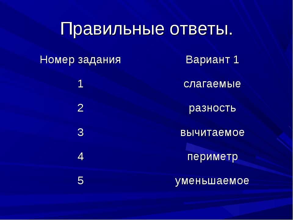 Правильные ответы. Номер задания Вариант 1 1 слагаемые 2 разность 3 вычитаемо...