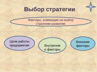 Выбор стратегии Цели работы предприятия Внутренние факторы Внешние факторы Фа...