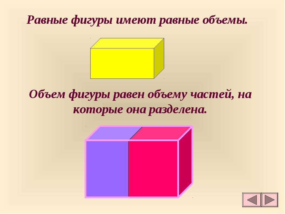 Равные фигуры имеют равные объемы. Объем фигуры равен объему частей, на котор...