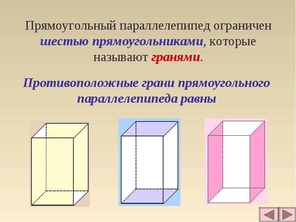 Прямоугольный параллелепипед ограничен шестью прямоугольниками, которые назыв...