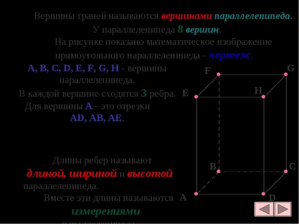 Вершины граней называются вершинами параллелепипеда. У параллелепипеда 8 верш...