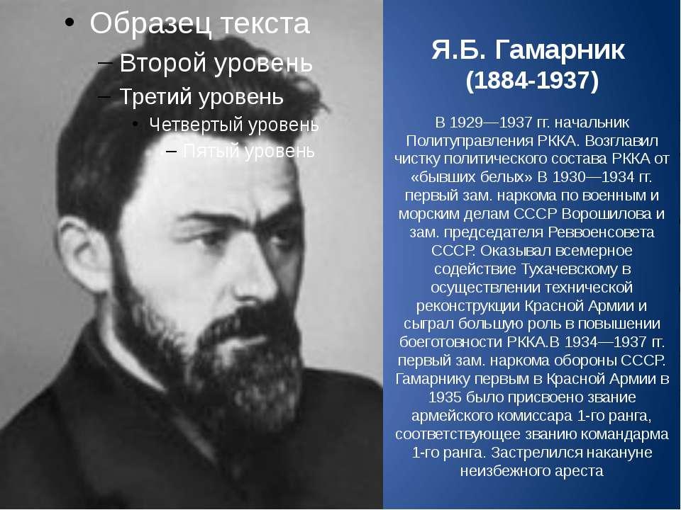Я.Б. Гамарник (1884-1937) В 1929—1937гг. начальник Политуправления РККА. Воз...