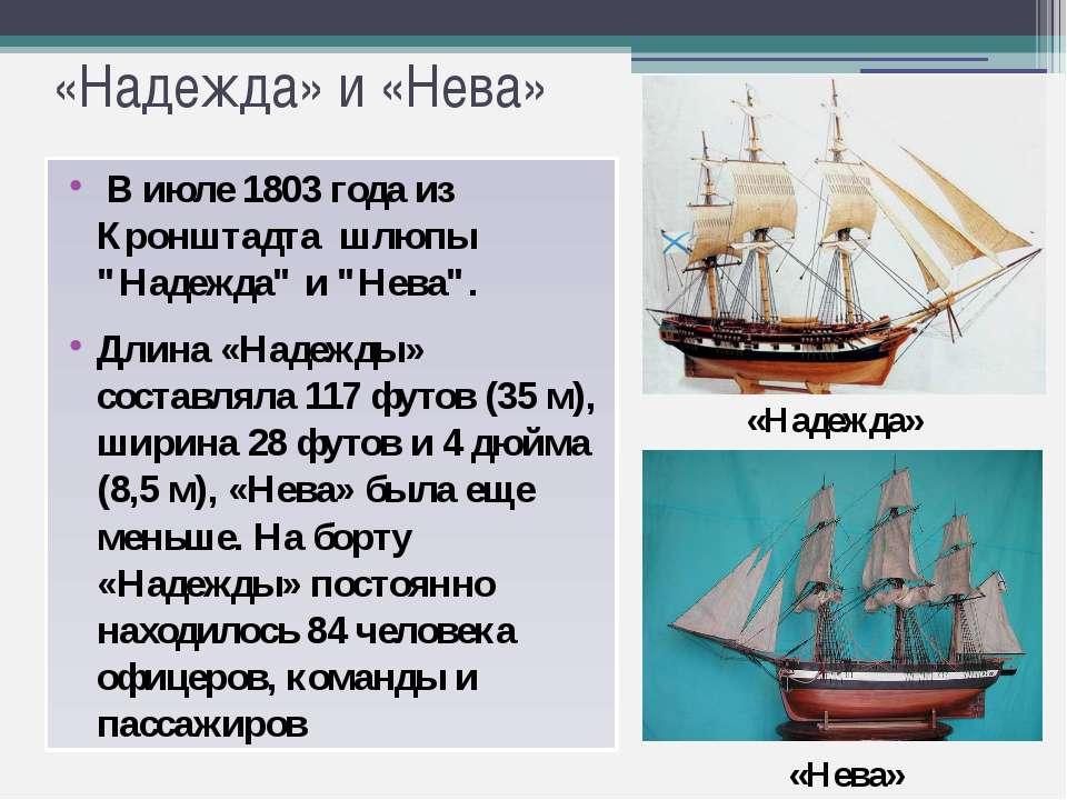 """«Надежда» и «Нева» В июле 1803 года из Кронштадта шлюпы """"Надежда"""" и """"Нева"""". Д..."""