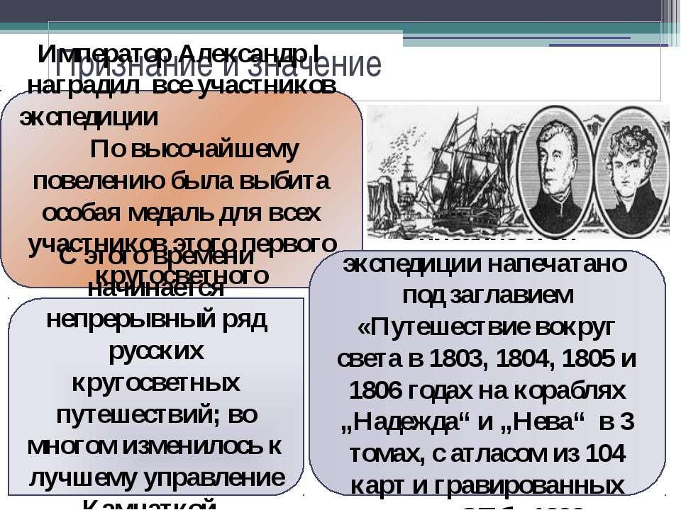 Признание и значение Император Александр I наградил все участников экспедиции...