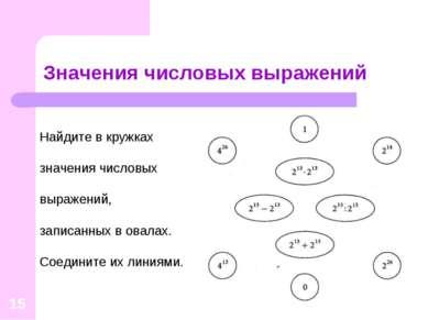 * Значения числовых выражений Найдите в кружках значения числовых выражений, ...