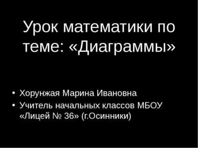 Урок математики по теме: «Диаграммы» Хорунжая Марина Ивановна Учитель начальн...