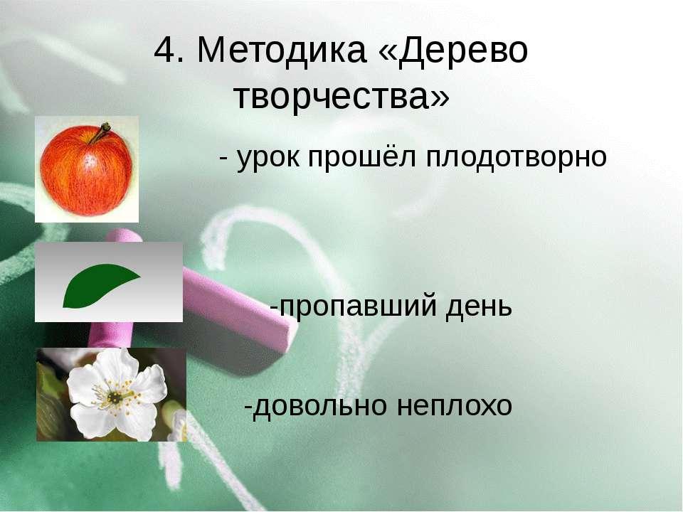 4. Методика «Дерево творчества» - урок прошёл плодотворно -пропавший день -до...
