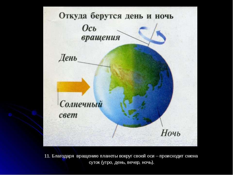 11. Благодаря вращению планеты вокруг своей оси – происходит смена 11. Благод...